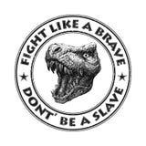 Вектор талисмана динозавра черная белизна Стоковые Изображения