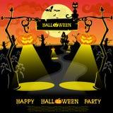 вектор текста места halloween знамени ваш Ландшафт с лампами от pumkins, летучих мышей и страшного дома для партии на большой пре Стоковое Изображение RF