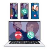 Вектор телефонирования IP Smartphone черни экрана дисплея компьтер-книжки Получать входящий звонок Вызывать сервисное приложение иллюстрация штока