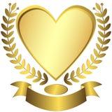 вектор тесемки сердца золота пожалования Стоковое Изображение RF