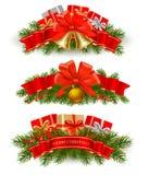 вектор тесемок 3 рождества знамен красный бесплатная иллюстрация