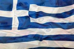 вектор типа Греции имеющегося флага стеклянный накрените веревочка примечания дег фокуса 100 евро 5 евро евро валюты кредиток схе Стоковое Изображение RF