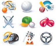 вектор типа спорта части иконы 36 шаржей установленный Стоковая Фотография