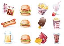 вектор типа части иконы быстро-приготовленное питания 22 шаржей установленный иллюстрация вектора