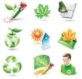 вектор типа части иконы экологичности 18 шаржей установленный Стоковые Изображения RF