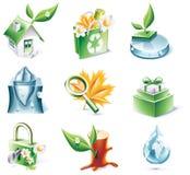 вектор типа части иконы экологичности 20 шаржей установленный Стоковая Фотография RF