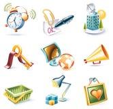 вектор типа части иконы 9 шаржей установленный Стоковое Изображение