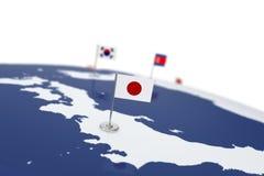 вектор типа японии имеющегося флага стеклянный Стоковая Фотография