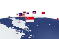 вектор типа singapore имеющегося флага стеклянный Стоковые Фото