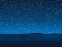 вектор Трава силуэта небо звёздное 10 eps Стоковое Изображение