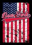 Вектор тройника плаката американского флага Нью-Йорка огорченный красочный графический иллюстрация вектора
