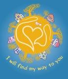 вектор тыквы иллюстрации halloween карточки декоративный Опознавание влюбленности Стоковое Изображение