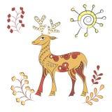 Вектор украсил оленей с элементами природы Стоковые Изображения RF