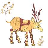 Вектор украсил оленей с элементами природы Стоковое Изображение