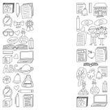 Вектор установил значков средней школы в стиле doodle Покрашенный, черный monochrome, изображения на куске бумаги на белизне бесплатная иллюстрация