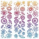 Вектор установил значков цветков ребенка рисуя в стиле doodle Покрашенный, красочный, градиент, на листе checkered бумаги на бело иллюстрация штока