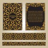Вектор установил красочных шаблонов и границ брошюры для дела и приглашения Марокканец; Арабский; орнаменты в золотом цвете стоковая фотография