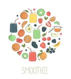 Вектор установил красочных smoothies плода и ягоды в стеклянных опарниках с плодом и ягодами обрамленными в круге бесплатная иллюстрация