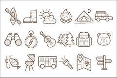 Вектор установил линейных элементов лагеря Шатер оборудования путешественника располагаясь лагерем, гитара, бинокли, карта деятел иллюстрация вектора