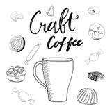 Вектор установил линии конфеты чертежа, эскиза на белой предпосылке, элементах дизайна Чай и торт Нарисованная рукой иллюстрация  иллюстрация вектора