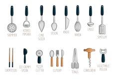 Вектор установил покрашенного инструмента кухни бесплатная иллюстрация