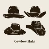 Вектор установил различного силуэта ковбойских шляп иллюстрация вектора