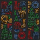 Вектор установил рождества, значков праздника в стиле doodle Покрашенный, красочный, изображения на куске бумаги на классн классн бесплатная иллюстрация