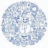 Вектор установил рождества, значков праздника в стиле doodle Покрашенный, нарисованный с ручкой, на листе checkered бумаги на a иллюстрация штока