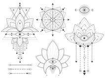 Вектор установил священных геометрических и естественных символов на белой предпосылке Абстрактный мистик подписывает собрание бесплатная иллюстрация