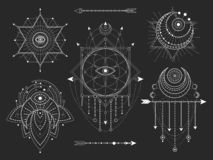 Вектор установил священных геометрических и естественных символов на черной предпосылке Абстрактный мистик подписывает собрание бесплатная иллюстрация