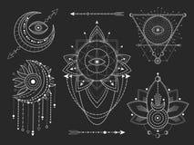 Вектор установил священных геометрических и естественных символов на черной предпосылке Абстрактный мистик подписывает собрание иллюстрация штока