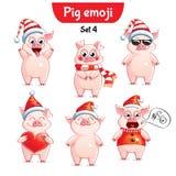 Вектор установил характеров свиньи рождества Комплект 4 стоковые изображения