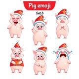 Вектор установил характеров свиньи рождества Комплект 3 стоковые изображения rf