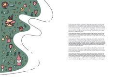 Вектор установил элементов и объектов обдумыванного вина иллюстрация вектора