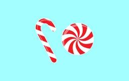Вектор установил с различными красными и белыми конфетами Иллюстрация вектора