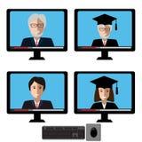 Вектор установил с учителями мужские и женские fases в экране компьютера Элементы дизайна для концепции дела или образования Стоковые Изображения