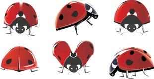 вектор установленный ladybugs Стоковые Фото