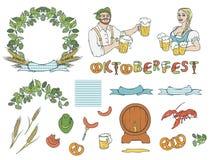 Вектор установленное Oktoberfest изолировал иллюстрацию эскиза человека и женщины в национальных костюмах с кружками пивом, сосис Стоковая Фотография RF