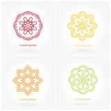 вектор установленный логосами Цветок мандалы Логотип, дело и приглашения Стоковое Изображение RF