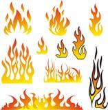 Вектор установленный пламенами Стоковое Изображение