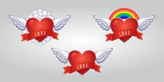 вектор установленный сердцами Сердце с крылами бесплатная иллюстрация