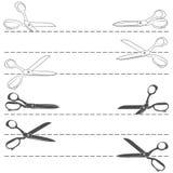 Вектор установленный с линией вырезыванием с ножницами Изолированные предметы бесплатная иллюстрация