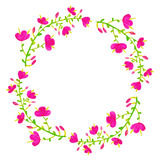 вектор установленный цветками Красочное флористическое собрание с листьями и f Стоковые Изображения