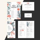 Вектор установленный для клеймить ресторана морепродуктов Рогулька, брошюра, знамя, визитная карточка Элементы нарисованные рукой Стоковое Изображение RF