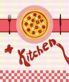 Вектор установленный для меню пиццы Стоковое Изображение RF