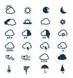 Вектор установленных значков погоды Стоковые Фотографии RF
