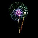 Вектор фейерверка изолированный на черной предпосылке Стоковое Фото