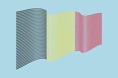Вектор флага Бельгии на голубой предпосылке Флаг нашивок волны, линия Стоковое Изображение