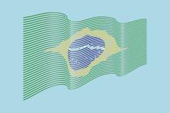 Вектор флага Бразилии на голубой предпосылке Флаг нашивок волны, линия i Стоковые Изображения