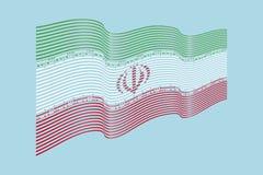 Вектор флага Ирана на голубой предпосылке Флаг нашивок волны, выравнивает беду Стоковые Фотографии RF
